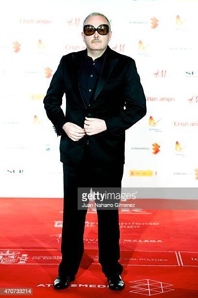 Spanish actor Carlos Areces attends the 'Sexo Facil Peliculas Tristes' premiere at the Cervantes Theater during the 18th Malaga Film Festival on...