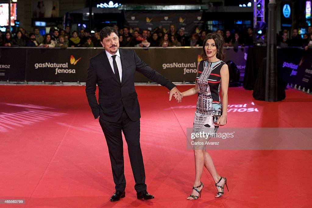 Spanish actor <a gi-track='captionPersonalityLinkClicked' href=/galleries/search?phrase=Carlos+Bardem&family=editorial&specificpeople=3964687 ng-click='$event.stopPropagation()'>Carlos Bardem</a> and Spanish actress <a gi-track='captionPersonalityLinkClicked' href=/galleries/search?phrase=Cecilia+Gessa&family=editorial&specificpeople=8612295 ng-click='$event.stopPropagation()'>Cecilia Gessa</a> attend the 'Feroz' cinema awards 2014 at the Callao cinema on January 27, 2014 in Madrid, Spain.