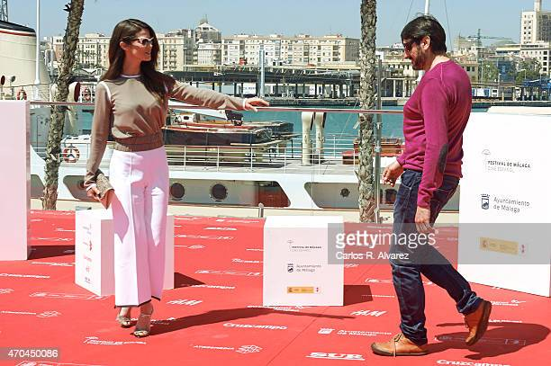 Spanish actor Carmelo Gomez and actress Juana Acosta attend 'Tiempo Sin Aire' photocall during the 18th Malaga Film Festival on April 20 2015 in...