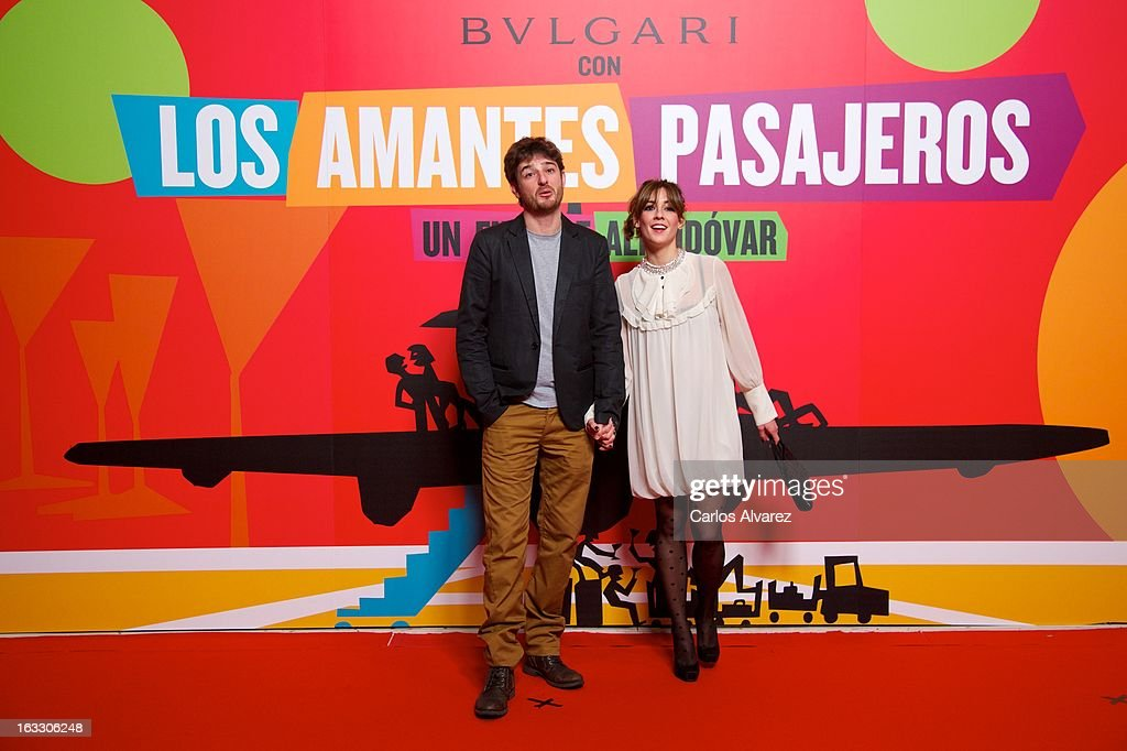 Spanish actor Gorka Otxoa and girlfriend attends 'Los Amantes Pasajeros' premiere party at Casino de Madrid on March 7, 2013 in Madrid, Spain.