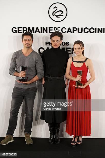 Spanish actor Hugo Silva Spanish model Laura Ponte and Spanish actress Aura Garrido attend the 'Carmen' Germaine de Capuccini award at the Academia...
