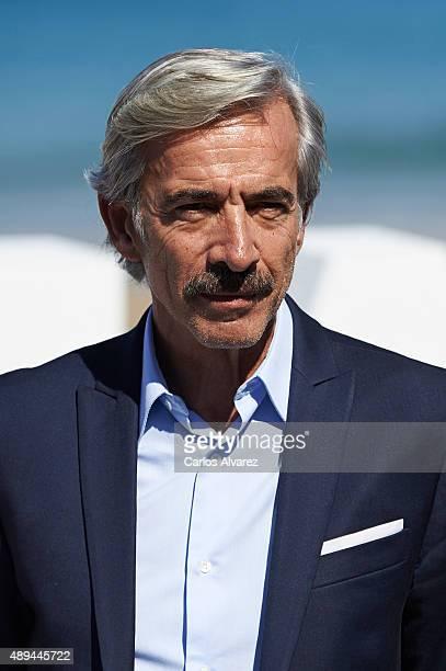 Spanish actor Imanol Arias attends 'Eva No Duerme' photocall at the Kursaal Palace during the 63rd San Sebastian International Film Festival on...