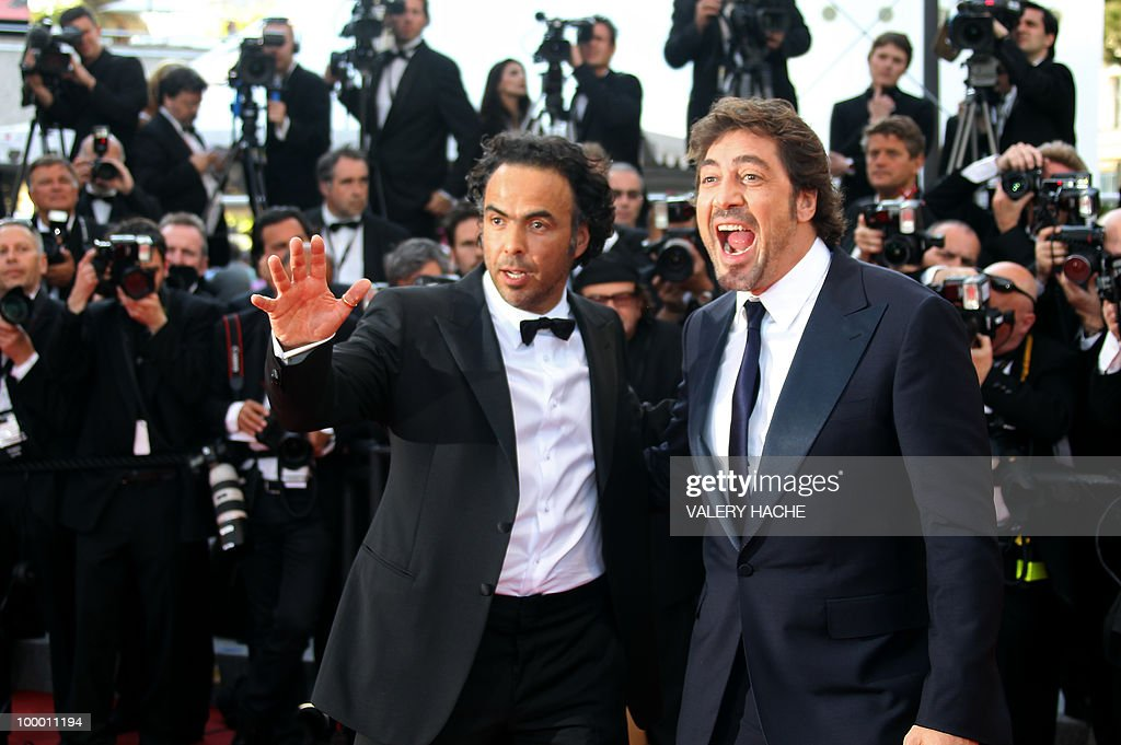 Spanish actor Javier Bardem (R) and Mexican director Alejandro Gonzalez Inarritu arrive for the screening of 'Biutiful' presented in competition at the 63rd Cannes Film Festival on May 17, 2010 in Cannes.