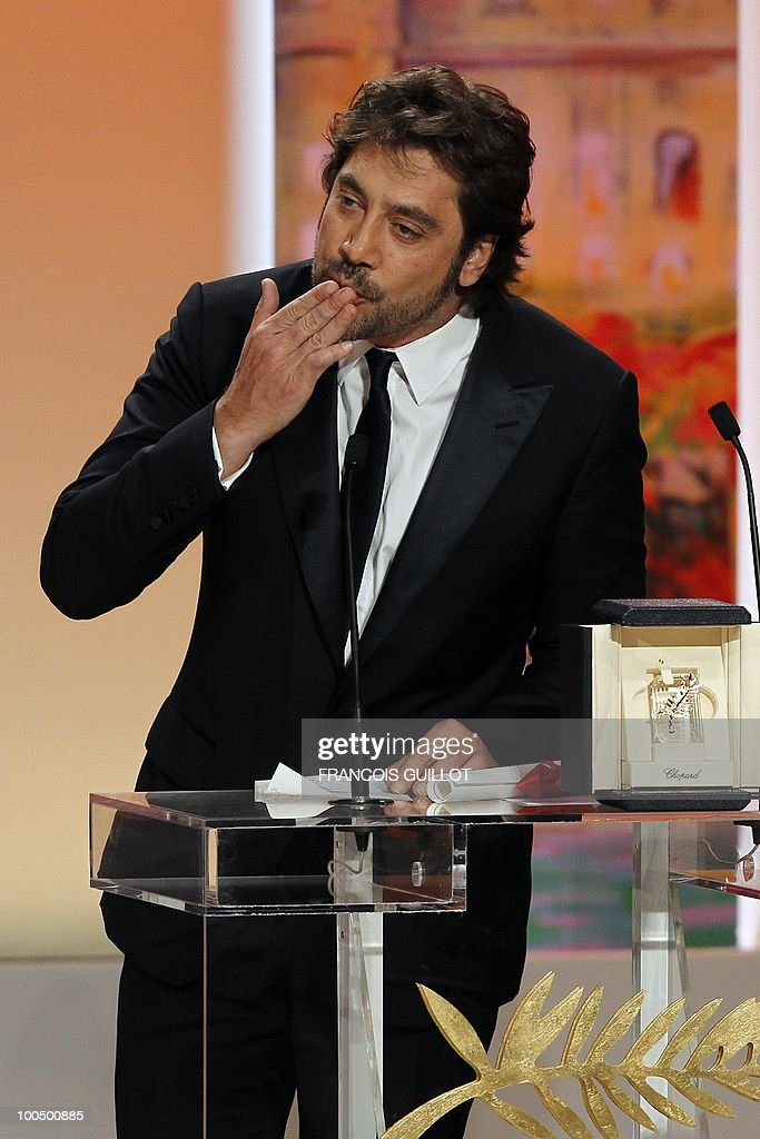 Spanish actor Javier Bardem poses after winning the Best Actor award for his film 'Biutiful' during the closing ceremony at the 63rd Cannes Film Festival on May 23, 2010 in Cannes.