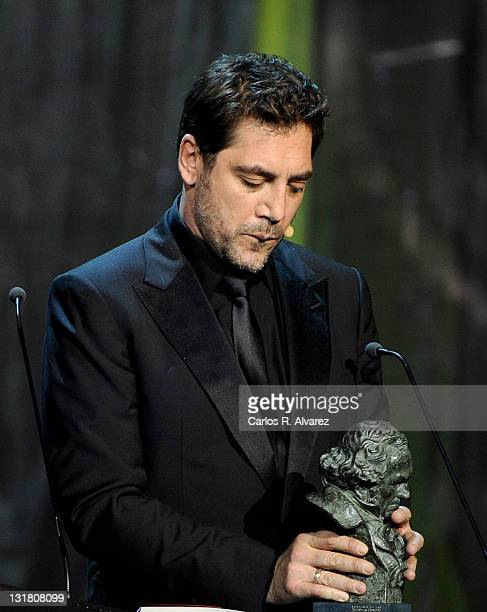 Spanish actor Javier Bardem receives the Best Actor Goya Award for the film 'Biutiful' during the Goya cinema Awards 2011 ceremony at the Royal...