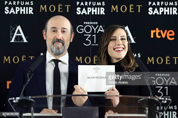 Spanish actor Javier Camara and Spanish actress Natalia de Molina attend the 31th Goya Cinema Awards candidates lecture at Academia de Cine on...