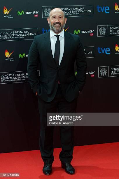 Spanish actor Javier Camara attends the 'Vivir Es Facil Con Los Ojos Cerrados' premiere at Kursaal Palace during the 61st San Sebastian International...