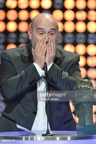 Spanish actor Javier Camara receives the Goya award for best actor for his film 'Vivr es facil con los ojos cerrados' during the 28th Goya Cinema...