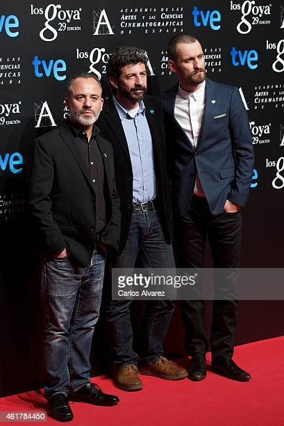 Spanish actor Javier Gutierrez Spanish director Alberto Rodriguez and Spanish actor Raul Arevalo attend the 29th Goya Awards Nominated party at the...
