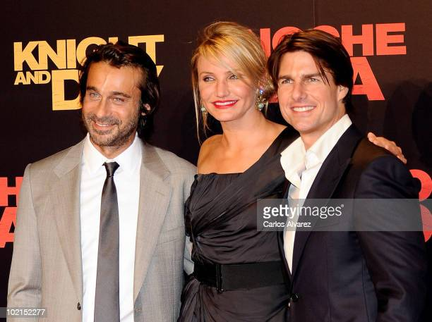 Spanish actor Jordi Molla Tom Cruise and Cameron Diaz attend 'Knight and Day' premiere at the Lope de Vega Theater in Seville Spain