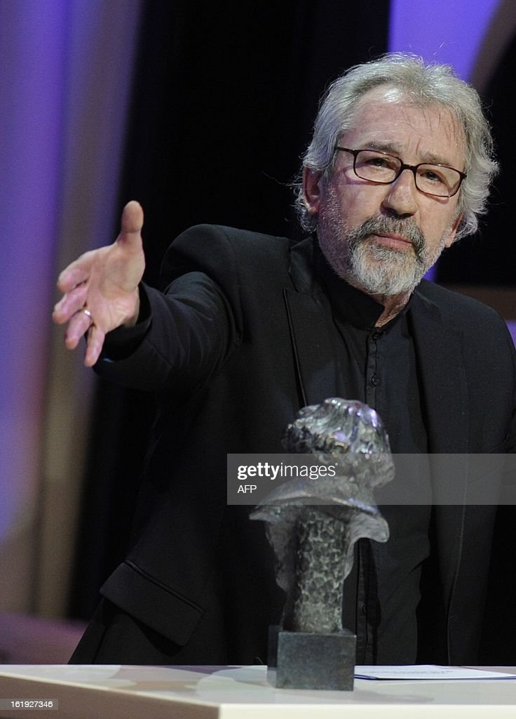 Spanish actor Jose Sacristan reacts after winning the Goya award for best leading actor for his role in the film 'El muerto y ser feliz' during the Goya Film Awards ceremony on February 17, 2013 in Madrid.
