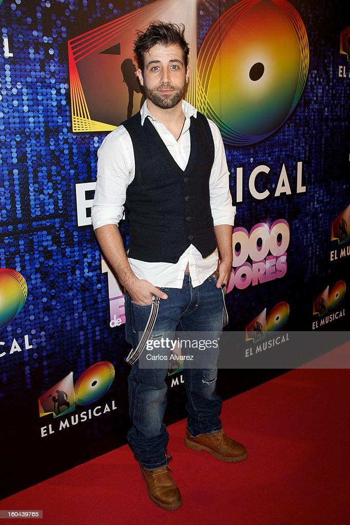Spanish actor Leandro Rivera attends '40 El Musical' premiere at the Rialto Theater on January 31, 2013 in Madrid, Spain.