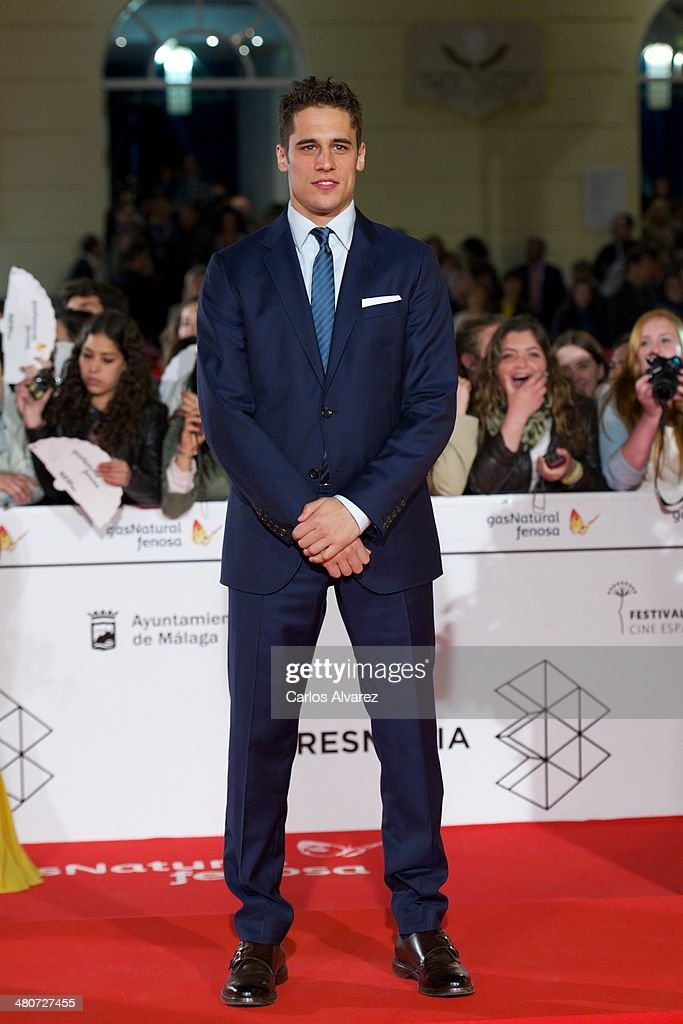 Spanish actor <a gi-track='captionPersonalityLinkClicked' href=/galleries/search?phrase=Martin+Rivas&family=editorial&specificpeople=2687913 ng-click='$event.stopPropagation()'>Martin Rivas</a> attends the 'Por un Punado de Besos' premiere during the 17th Malaga Film Festival 2014 - Day 6 at the Cervantes Theater on March 26, 2014 in Malaga, Spain.
