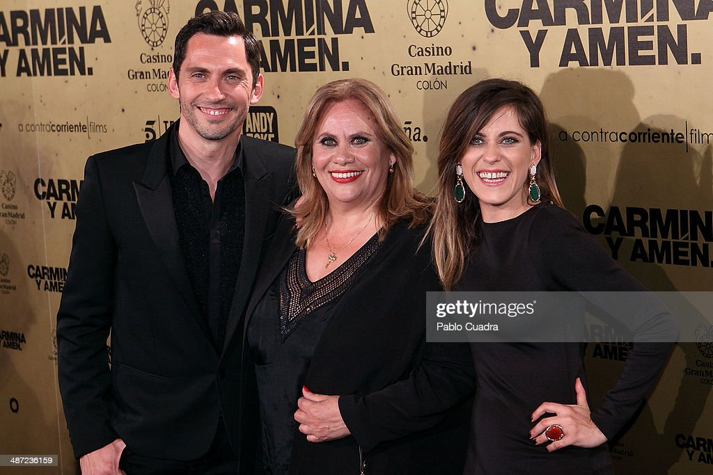 Spanish actor Paco Leon and actresses <a gi-track='captionPersonalityLinkClicked' href=/galleries/search?phrase=Carmina+Barrios&family=editorial&specificpeople=9160171 ng-click='$event.stopPropagation()'>Carmina Barrios</a>, Maria Leon attend the 'Carmina y Amen' premiere at the Callao cinema on April 28, 2014 in Madrid, Spain.