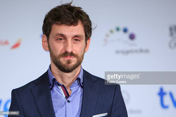 Spanish actor Raul Arevalo announces the next 'Jose Maria Forque' awards at the Palace Hotel on December 18 2014 in Madrid Spain