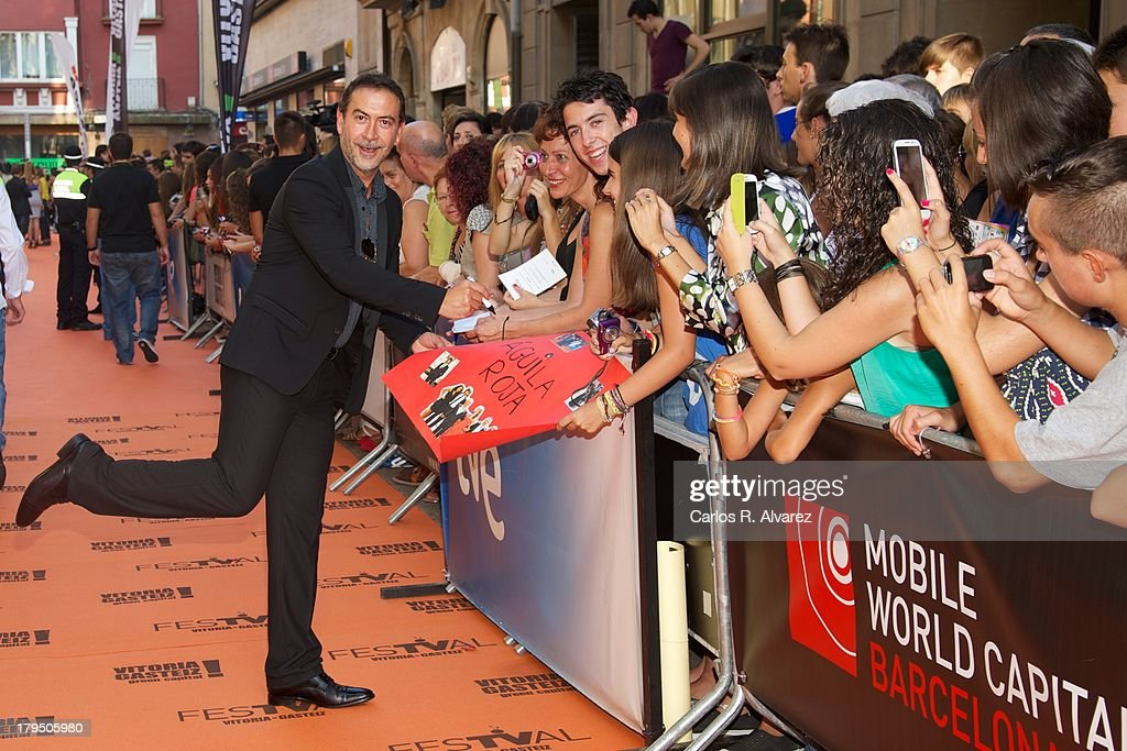 Spanish actor Santiago Molero attends the 'Aguila Roja' new season red carpet during the day three of 5th FesTVal Television Festival 2013 at the Principal Theater on September 4, 2013 in Vitoria-Gasteiz, Spain.