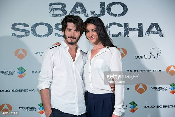 Spanish actor Yon Gonzalez and spanish actress Blanca Romero attend 'Bajo Sospecha' Set Filming Presentation in Madrid on July 24 2014 in Madrid Spain