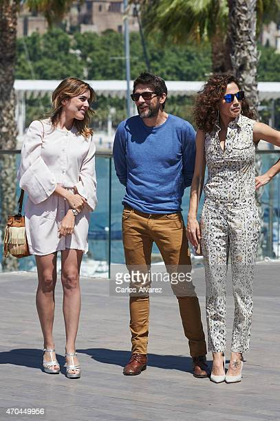 Spanish actors Adriana Ugarte Felix Gomea and Toni Acosta attend 'Tiempo Sin Aire' photocall during the 18th Malaga Film Festival on April 20 2015 in...
