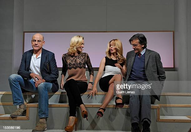 Spanish actors Aitor Mazo Kira Miro Maria Adanez and Josep Maria Flotats pose for a photo shoot after the press preview of 'La verdad' by the french...