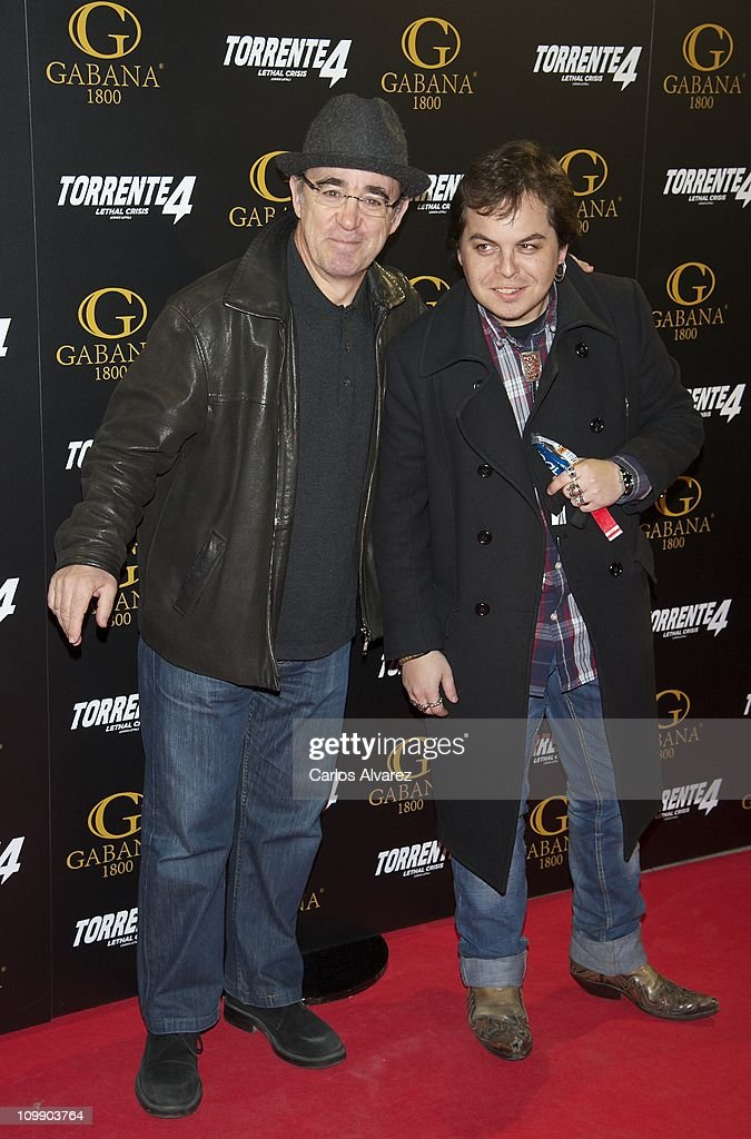 Spanish actors Alex Angulo (L) and Jimmy Barnatan (R) attend 'Torrente 4' premiere at the Capitol cinema on March 9, 2011 in Madrid, Spain.