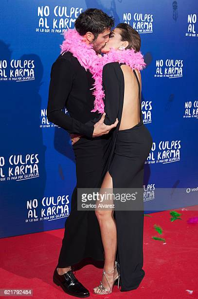 Spanish actors Alex Garcia and Veronica Echegui attend 'No Culpes al Karma De lo Que Te Pasa Por Gilipollas' premiere at Callao cinema on November 8...