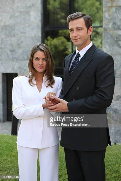 Spanish actors Amaia Salamanca and Fernando Gil are seen on location of 'Felipe and Letizia A Love Story' The couple are filming the day of the royal...