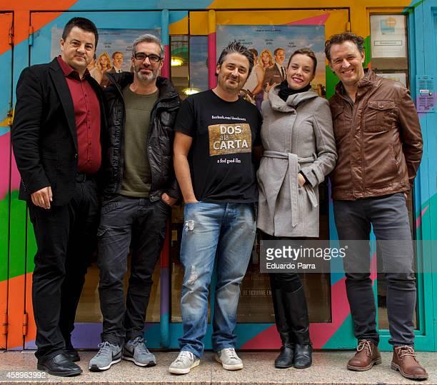Spanish actors Andoni Agirregomezkorta Adria Collado director Robert Bellsola actress Carolina Bang and actor Marcel Tomas attend 'Dos a la Carta'...