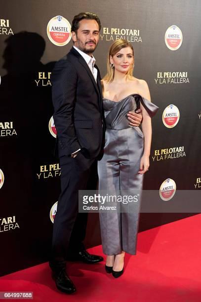 Spanish actors Asier Etxeandia and Miriam Giovanelli attend 'El Pelotari Y La Fallera' premiere at the Callao cinema on April 5 2017 in Madrid Spain