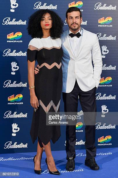 Spanish actors Berta Vazquez and Mario Casas attend the 40 Principales Awards 2015 photocall at the Barclaycard Center on December 11 2015 in Madrid...
