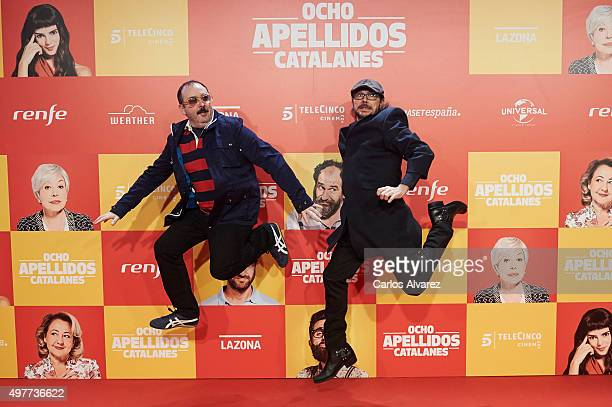 Spanish actors Carlos Areces and Santiago Segura attend the 'Ocho Apellidos Catalanes' premiere at the Capitol cinema on November 18 2015 in Madrid...