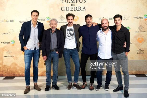 Spanish actors Cristobal Suarez Jose Sacristan Alex Gadea Alex Garcia Federico Perez and Daniel Lundh attend 'Tiempo de Guerra' photocall at the...