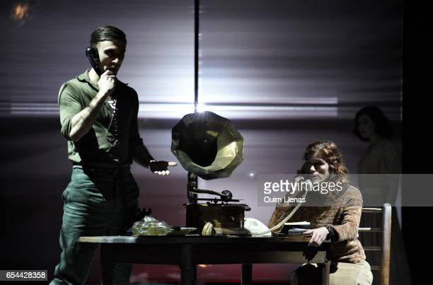 Spanish actors Daniel Jumillas and Angela Villar perform during the dress rehearsal of the play 'Ushuaia' by Alberto Conejero on stage at the Espanol...