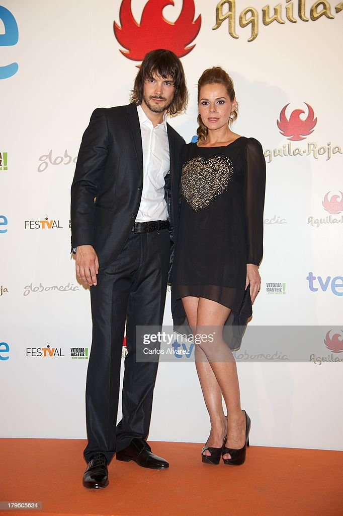 Spanish actors David Janer and Miriam Gallego attend the 'Aguila Roja' new season red carpet during the day three of 5th FesTVal Television Festival 2013 at the Principal Theater on September 4, 2013 in Vitoria-Gasteiz, Spain.