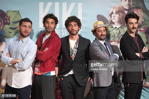 Spanish actors David Mora Alex Garcia Paco Leon Luis Callejo and Javier Rey attend 'Kiki El Amor Se Hace' photocall at the Urso Hotel on March 29...