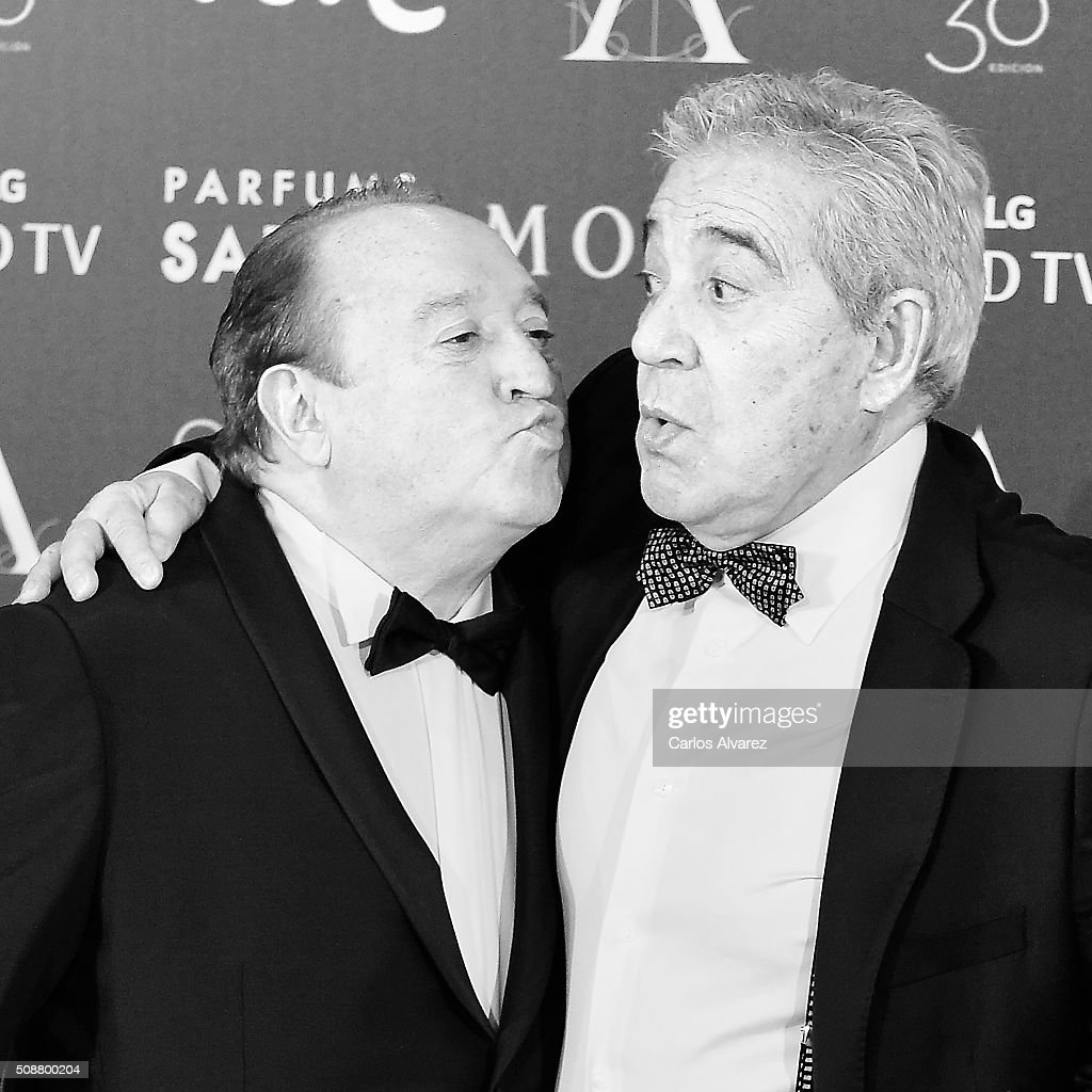 Spanish actors Fernando Esteso (L) and Andres Pajares (R) attend Goya Cinema Awards 2016 at Madrid Marriott Auditorium on February 6, 2016 in Madrid, Spain.