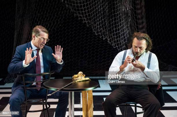 Spanish actors Gabriel Moreno and Jose Vicente Moiron perform during the dress rehearsal of the play 'Contra la Democracia' by Esteve Soler on stage...