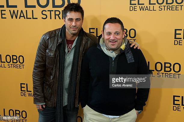 Spanish actors Hugo Silva and Pepon Nieto attend the 'The Wolf of Wall Street' premiere at the Palafox cinema on January 15 2014 in Madrid Spain