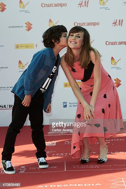 Spanish actors Jaime Lopez and Natalia de Molina attend the 'Techo y Comida' photocall at the Cervantes Theater during the 18th Malaga Film Festival...