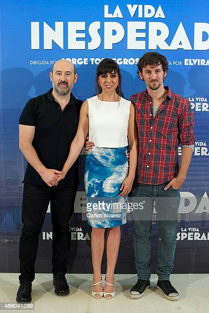 Spanish actors Javier Camara Carmen Ruiz and Raul Arevalo attend the 'La Vida Inesperada' photocall at the Hesperia Hotel on April 22 2014 in Madrid...
