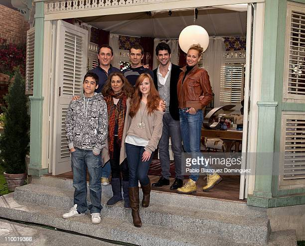Spanish actors Jorge Jurado Lolita Flores Susana Abaitua Javier Tolosa Toni Canto Miguel Angel Munoz and Esther Arroyo attend a photocall for the new...