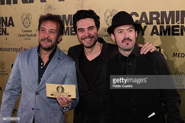 Spanish actors Jose Luis Garcia Jose Manuel Seda y Alex O'Dogherty attend the 'Carmina y Amen' premiere at the Callao cinema> on April 28 2014 in...
