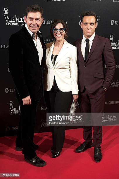 Spanish actors Juanjo Pardo Llum Barrera and Ricard Sales attend the 10th ValleInclan Theatre awards at the Royal Theatre on April 11 2016 in Madrid...