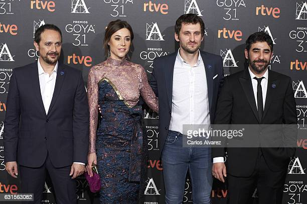 Spanish actors Luis Callejo Ruth Diaz Raul Arevalo and Raul Jimenez attend the Goya cinema awards candidates 2016 cocktail at the Ritz Hotel on...
