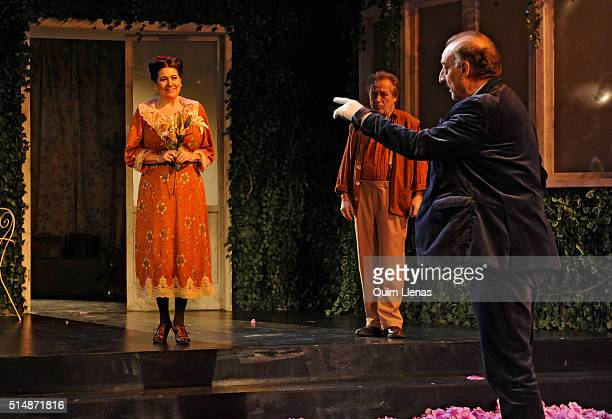 Spanish actors Luisa Martin Manuel Galiana and Pedro Miguel Martinez perform during the dress rehearsal of the play 'En el oscuro corazón del bosque'...
