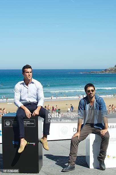 Spanish actors Mario Casas and Hugo Silva attend the 'Las Brujas de Zugarramurdi' photocall during the 61th San Sebastian International Film Festival...