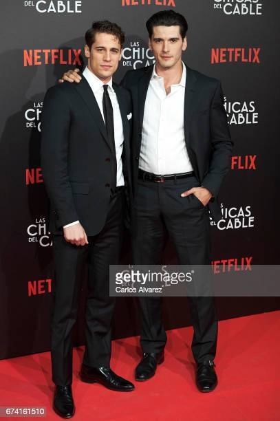 Spanish actors Martino Rivas and Yon Gonzalez attend 'Las Chicas Del Cable' premiere at the Callao cinema on April 27 2017 in Madrid Spain