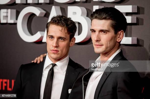 Spanish actors Martino Rivas and Yon Gonzalez attend 'Las Chicas Del Cable' premiere at the Callao cinema on April 27 2017 in Madrid Spain