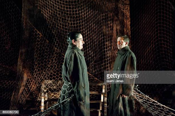 Spanish actors Meme Tabares and Gabriel Moreno perform during the dress rehearsal of the play 'Contra la Democracia' by Esteve Soler on stage at the...