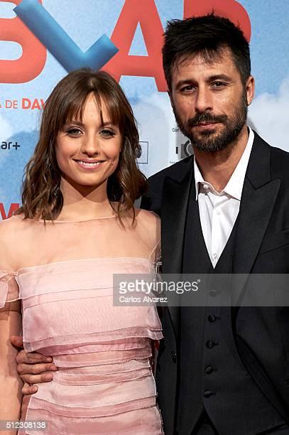 Spanish actors Michelle Jenner and Hugo Silva attend the 'Tenemos Que Hablar' premiere at the Palacio de la Prensa cinema on February 25 2016 in...