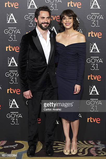 Spanish actors Paco Leon and Belen Cuesta attend the Goya cinema awards candidates 2016 cocktail at the Ritz Hotel on January 12 2017 in Madrid Spain